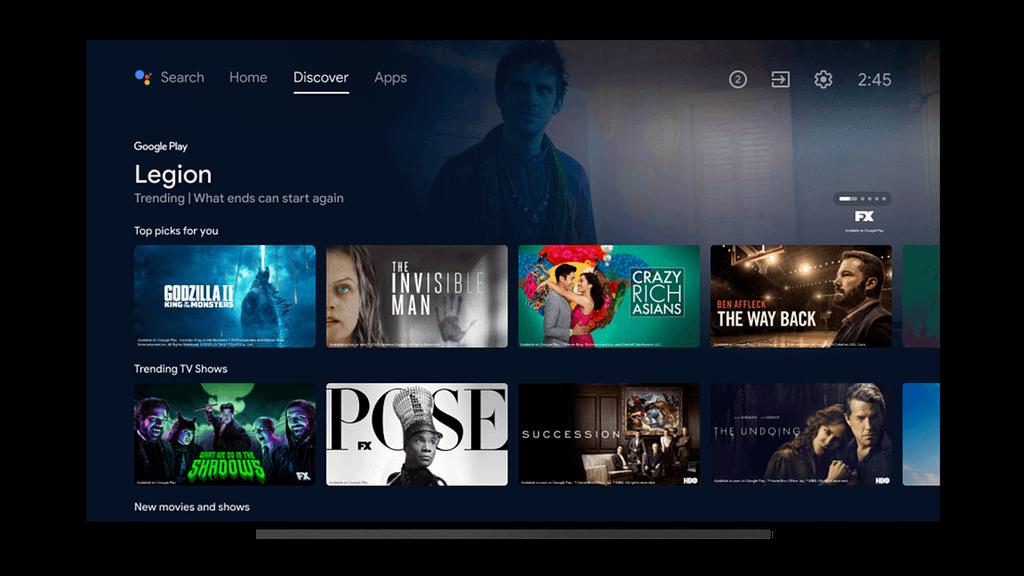 Yeni Android TV Arayüzü (Kaynak: Google)