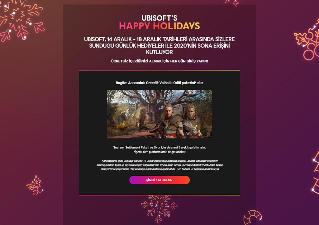 Ubisoft Ücretsiz Oyun ve DLC Kampanyası Sayfası.