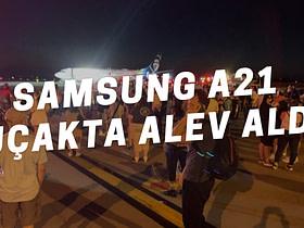Samsung'un 2020 Nisan ayında satışa sunduğu giriş seviyesi telefonu Samsung Galaxy A21, 128 yolcunun bulunduğu uçakta alev aldı.