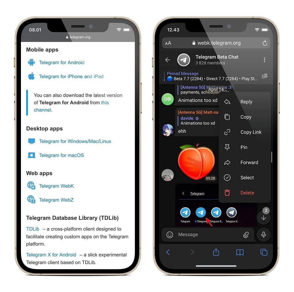Yeni Telegram Web Sürümleri